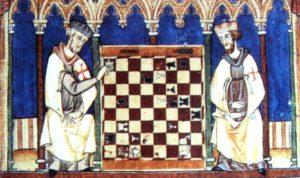 Templarios disputando una partida de ajedrez en una miniatura del 'Libro de los juegos' (1283)