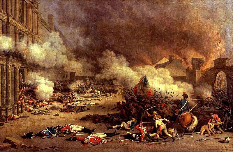 Marsellesa - 800px Jacques Bertaux   Prise du palais des Tuileries   1793  - La Marsellesa: el origen de un canto revolucionario