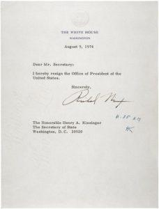Carta firmada por Nixon para anunciar su dimisión