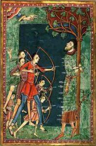 Edmundo asaetado (miniatura de 'Vida, pasión y milagros de San Edmundo')