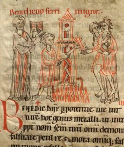 En esta miniatura medieval podemos ver un ejemplo de prueba de fuego