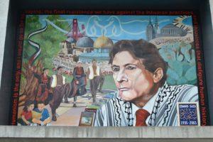 Mural homenajeando al profesor Said en Palestina