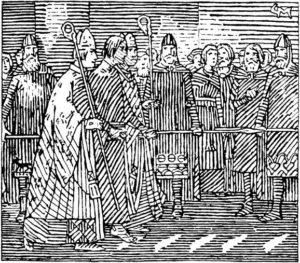 Prueba de fuego de Harald Gille, presunto hijo de Magnus III de Noruega. Harald camina descalzo sobre hierros ardientes para probar su ascendencia real