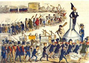 Caricatura sobre la manipulación electoral en los años previos a la Restauración