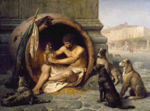 En obras de autores del siglo XIX como Gérôme se puede ver esta imagen romántica de Diógenes viviendo en una tinaja.