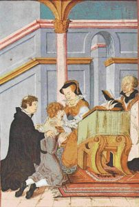 María I de Inglaterra curando la escrófula toque divino - 404px Queen Mary I curing scrofula Levina Teerlinc 16th C - El toque divino de la monarquía medieval