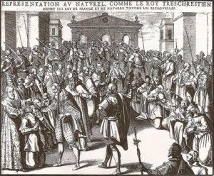 Enrique IV tocando a 575 enfermos en Reims duriante la Semana Santa de 1606 toque divino - 726px Henri IV touche les escrouelles - El toque divino de la monarquía medieval