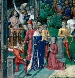 Este grabado del siglo XV representa la tradición según la cual Clodoveo sanan a los escrofulosos tras su coronación. toque divino - Clovis I touching for scrofula - El toque divino de la monarquía medieval