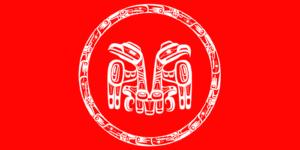 Bandera de los Haida, uno de los pueblos que practicarían el Pótlatch