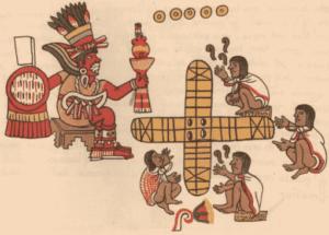Representación de una partida de Patolli con el dios Macuilxochitl presente.