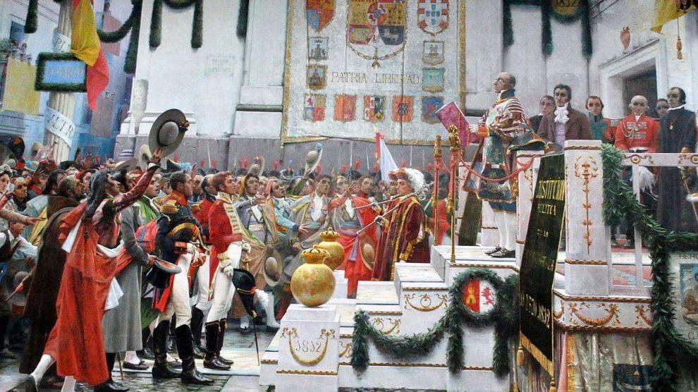 La promulgación de la Constitución de 1812, de Salvador Viniegra (Wikimedia).