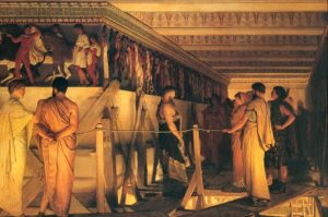 Fidias enseña el friso del Partenón a Pericles