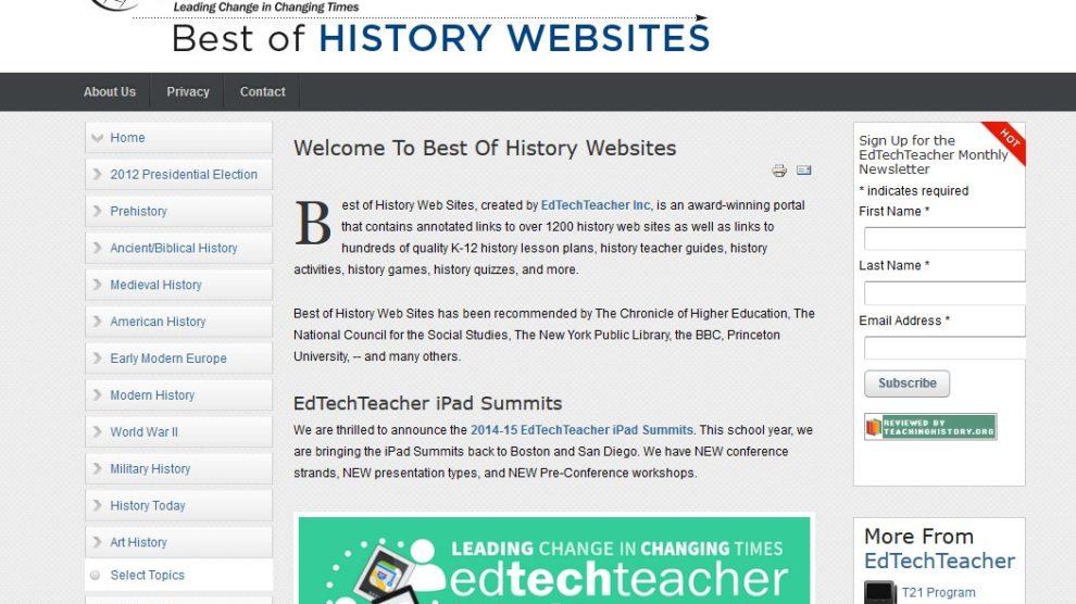 Captura de la página 'Best of History Websites'