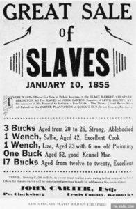 Cartel de subasta de esclavos en Kentucky (EEUU) en enero de 1855.