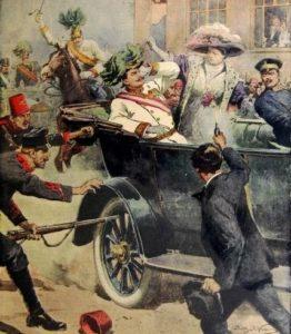 Ilustración del asesinato del Archiduque Francisco Fernando