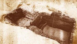 Restos de la tumba de Narmer, en Umm el-Qaab