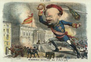 Caricatura de Pavía durante el golpe, en La Madeja Política, dibujo de Tomás Padró Pedret. (Fuente: Wikimedia)