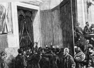 Entrada de las tropas del general Pavía en el Congreso de los Diputados el 3 de enero de 1874. Grabado aparecido en La Ilustración Española y Americana. (Fuente: Wikimedia)