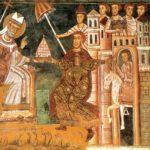 Donación de Constantino I al Papa Silvestre I (Wikimedia).
