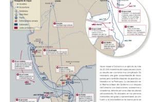 Infografía que muestra el cruce del estrecho de Gibraltar por algunas unidades del Ejército de África entre el 18 y el 20 de julio de 1936 ('La sublevación', de Víctor Hurtado).