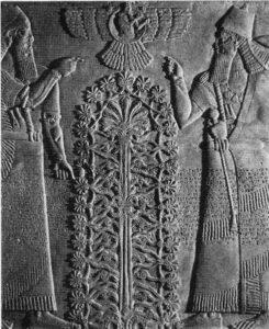Relieve asirio: Querubines custodiando el árbol de la vida