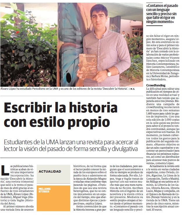 'Escribir la historia con estilo propio', en Crónica Universitaria el 19-05-2015.