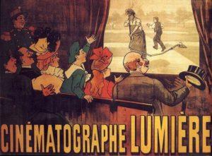 El primer cartel de cine de la historia, el de la película «El regador regado» de los Hermanos Lumière (1895).