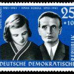 Estampa conmemorativa de Sophie y Hans Scholl (Wikimedia).