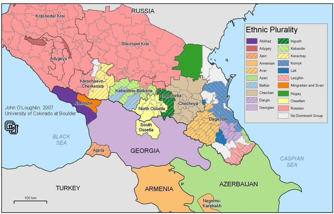 Mapa Politico Y Etnico De La Region Del Caucaso
