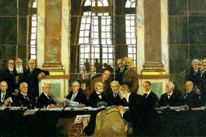 Firma del Tratado de Versalles en el Salón de los Espejos (William Orpen).
