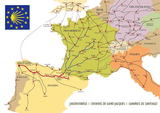 Caminos hacia Santiago de Compostela.