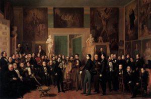 Algunos de los componentes habituales de la tertulia del Parnasillo aparecen en este cuadro de Antonio María Esquivel en 1846