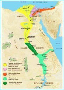 Mapa de Egipto durante la época de los hicsos