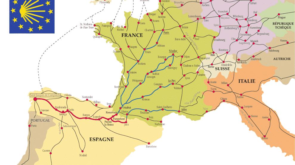 Caminos hacia Santiago de Compostela (Wikimedia).