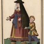 Dama con chapines en una lámina del 'Ensemble de gravures de costumes espagnols du XVIe siècle', de Roger de Gaignières (Wikimedia).
