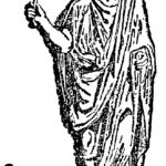 Augur con su bastón (lituus) y un pollo a sus pies (Wikimedia)