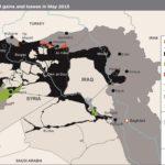 En negro, territorio bajo control del Estado Islámico en Siria e Irak a mayo de éste año. En verde, ganancias territoriales. En rojo, perdidas.