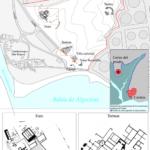 Plano del yacimiento de Carteia (San Roque, Andalucía, España), alrededores y detalle de alguna de las estructuras visibles (Wikimedia).