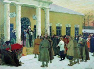 «Liberación de los campesinos», de Borís Kustódiev, 1907. servidumbre Rusia -   Liberaci  n de los campesinos Lectura del Manifiesto   - La abolición de la servidumbre en Rusia