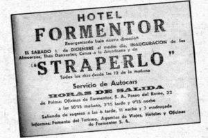 Anuncio de la inauguración del «straperlo» del casino del hotel Formentor