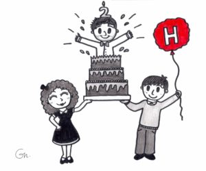 Ilustración conmemorativa del segundo aniversario de 'Descubrir la Historia' (Por Gala Narváez).