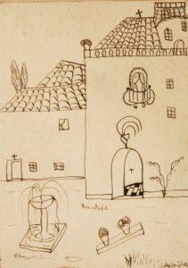 'Paisaje urbano', dibujo de Federico García Lorca niño - Federico Garc  a Lorca   Paisaje urbano  - Relato: El niño en la ventana