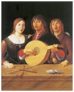 «El Concierto» (1490), Lorenzo Costa «el viejo» (1460-1535). Muestra una «pochette», a la sazón un violín de viaje.