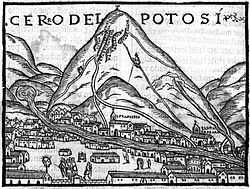Cerro Rico según Pedro Cieza de León, 1553 (Wikimedia). Potosí - Cerro Rico seg  n Pedro Cieza de Le  n 1553 Wikipedia - Plata, sangre y poder: la lucha entre vascongados y vicuñas en el Potosí colonial