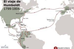 Mapa del viaje de Humboldt y Bonpland por América (1799-1804) (Juan Pérez Ventura).