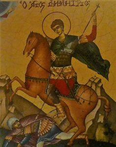 Icono de San Demetrio de Tesalónica matando a un enemigo (Imagen del autor).