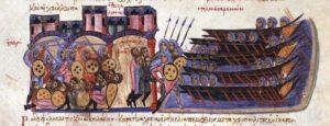 Saco de Tesalónica por las tropas de León de Trípoli. Skylitzes Matritensis (Wikimedia).