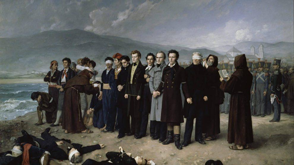 Fusilamiento de Torrijos y sus compañeros en las playas de Málaga, Antoni Gisbert 1888 (Wikimedia).