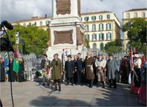 Homenaje a Torrijos y sus compañeros por la Asociación Histórico-Cultural Torrijos 1831 en la Plaza de la Merced, Málaga (Jorge Pérez).