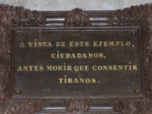 Detalle del Monumento a Torrijos y sus compañeros en la Plaza de la Merced, Málaga (Wikimedia).